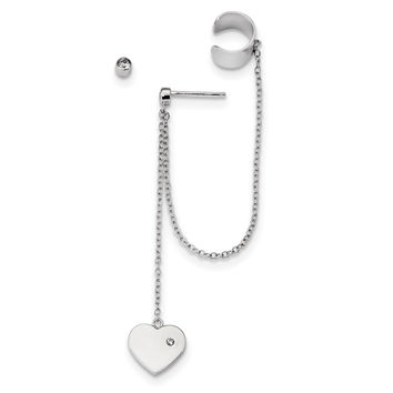 Sterling Silver Rhodium-plated CZ Heart Dangle Cuff & Post Earrings QE13445