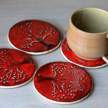 Handmade Ceramic Coasters with Tree Design and Cork Backing - House Warming Gift - Set of Four