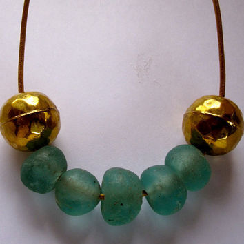 Necklace African blue glass and brass beads modern jewelry