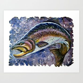 Vintage Blue Trout Fresco by Lena Owens/OLenaArt