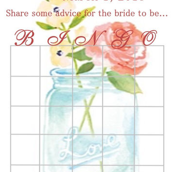 Personalized Mason Jar Bridal Shower Bingo Cards