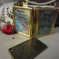 Long Distance Love Vintage Map Book Locket with Swarovski Heart
