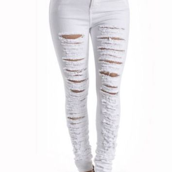 Lisa White Ripped High Waisted Jeans