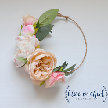 Peony Flower Crown, Boho Wedding, Garden Roses, Blush Flower Crown, Floral Crown, Flower Head Piece, Flower Hair Accessory, Wedding Crown