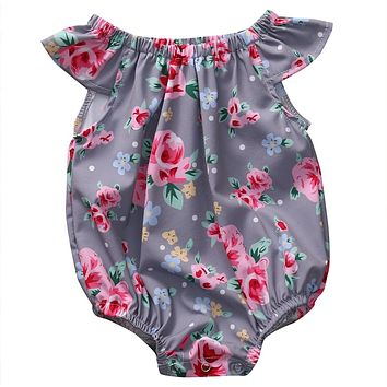 Newborn Baby Girls Romper Butterfly Sleeves Jumpsuit Outfit Clothes