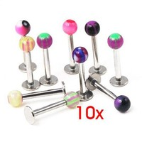 ac DCCKO2Q Mix Color Labret Balls Lip Tragus ring Ear Stud Bars Kit 10pcs P1317