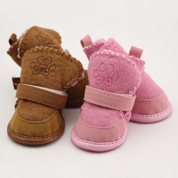 Non-slip shoes dog Teddy pet thick soft bottom snow boots Small Dogs Winter Soft cotton boots 4PCS/SET