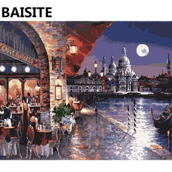 BAISITE Framed Morden Landscape DIY Oil Painting By Numbers Painting&Calligraphy Decor Wall Art E796 40x50cm