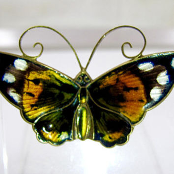 David Andersen Brooch, Large Enamel Butterfly Lapel Pin, Multi Color Guilloche Bronze Yellow Black White, DA Norway