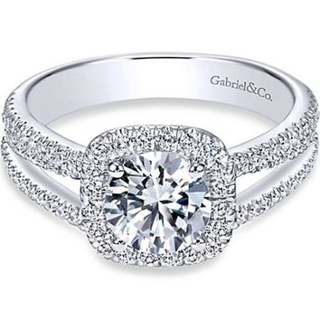 "Gabriel ""Hillary"" Halo Diamond Engagement Ring"