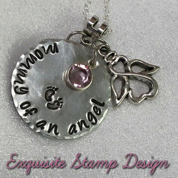 Mommy Of An Angel - Swarovski Channel Birthstone - Remembrance - Hand Stamped - Necklace - Infant Loss - Child Loss -Sympathy