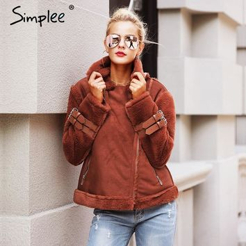 Simplee Faux leather suede lamb fur jacket coat women Moto zipper suede jacket female overcoat Casual turn-down winter coat
