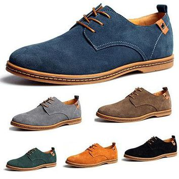 2016 New Fashion Men Shoes Suede Genuine Leather Loafers Low Flats Shoes Casual Shoes Oxford Shoes For Men Plus Size 45,46,47,48
