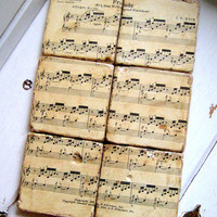 Classical Music Coasters from re purposed tiles, vintage Bach sheet music, Classical composer, set of six