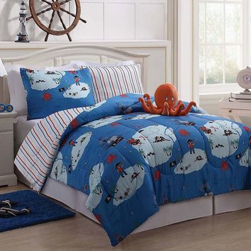 Victoria Classics Octopus 3-pc. Reversible Comforter Set (Blue)