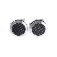 "Rhodium Plated and ""Carbon Fiber"" Round Cufflinks"