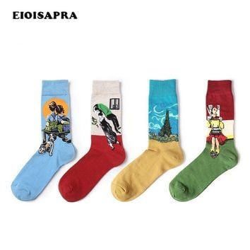[EIOISAPRA]Fashion Art Cotton Printed Socks Painting Character Pattern Unisex Men Harajuku Design Sox Calcetine Novelty Funny