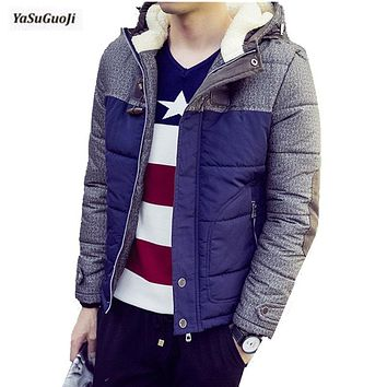 New 2017 winter fashion elbow corduroy patchwork hooded coat men thickening cotton-padded slim jacket men chaqueta hombre MF9