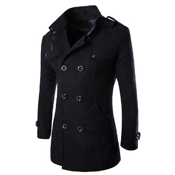 2017 Fashion Men's Autumn Winter Coat Turn-down Collar Wool Blend Men Pea Coat Double Breasted Winter Overcoat