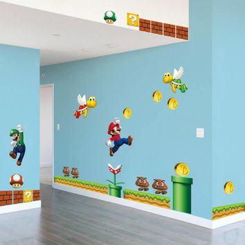 On Sale New Super Mario Bros PVC Wall Sticker decals Home Decor For Kids Baby Room Decor