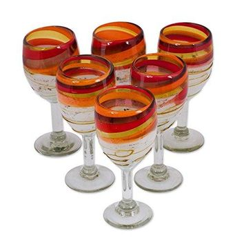 NOVICA White Orange Red Amber Swirl Hand Blown Glass Wine Glasses, 11 oz, 'Caramel Fantasy' (Set of 6)