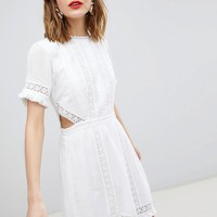 River Island Cut Out Detail Lace Skater Dress at asos.com