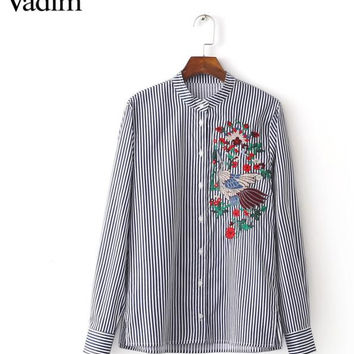 Women elegant floral bird embroidery striped blouse mandarin collar long sleeve shirts Phoenix office wear tops blusas LT1302