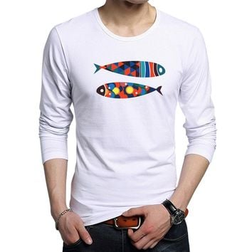 New Fashion Hipster Men Funny Art Colorful Fish Print T-shirts Mens Casual Cotton Long Sleeve tshirt Rock Hip Hop Style Tee Tops