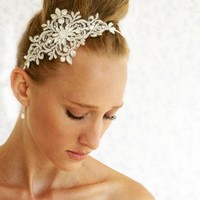 Bridal Lace Headpiece - Silvery Crown - Chantilly Crystals And Rhinestone Silvery Lace He | Luulla