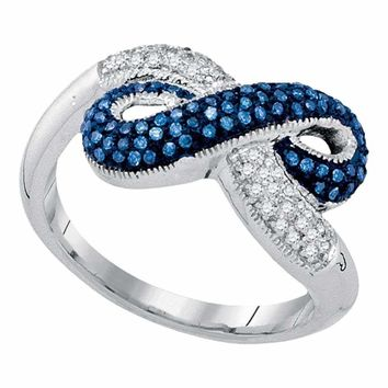 10kt White Gold Women's Round Blue Color Enhanced Diamond Infinity Ring 1-3 Cttw - FREE Shipping (US/CAN)