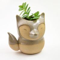 Fox shaped ceramic planter/ vase - caramel/gray