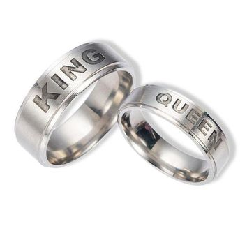 ca DCCKTM4 Stylish Shiny Gift New Arrival Jewelry Stainless Steel Crown Couple Titanium Ring [11192765767]
