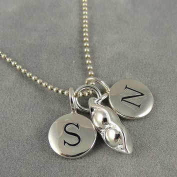 Personalized Two Peas in a Pod Initial Necklace - Silver - Custom Necklace - Two Initials - Gift Idea Mom, Grandma, Couples