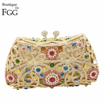 Boutique De FGG Crystal Diamond Flower Hollow Out Women Gold Evening Purse Metal Minaudiere Clutch Handbag Wedding Clutches Bag
