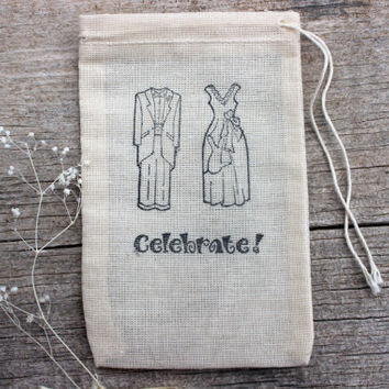 Wedding Favor Candy Bags, Bride Groom Celebrate Hand stamped, Wedding Gift Bags, Cotton Drawstring Favor Bags, Bachlorette or Bachelor Party