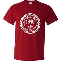 Made in 1940 All Original Parts Tshirt. 75th Birthday Shirt.  Funny Birthday Tshirts. Ladies and Mens Unisex Styles. Makes A Great Gift.
