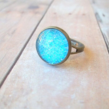 T U R Q U O I S E - Turquoise Teal Blue Glitter Sparkle Photo Glass Cab Bronze Adjustable Ring