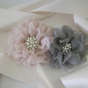 Light Blush Pink Satin Wedding Sash with Blush Pink and Grey Flowers with Pearl and Rhinestone Accents Bridal Sash Wedding Custom Order