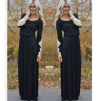 Hot Sale Women's Fashion Black Long Sleeve Patchwork Lace Prom Dress [9266596748]