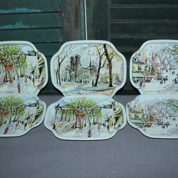 Puillery art Paris scenes Elite Trays England (Set of 6), serving tray, dessert tray, snack tray, vintage tray, vintage tins