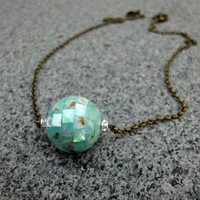 Medium Sea Green Shell Necklace Pendant Antqiue Brass Chain | LittleApples - Jewelry on ArtFire