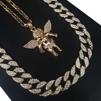 """14k Gold PT Lil Yacthy Bling Angel 15mm Iced Out Miami Cuban 30"""" Necklace S178"""