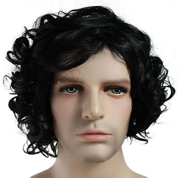 Game of Thrones Jon Snow Short Wavy Hair Wigs Black Synthetic Cosplay Wig For Men Costume