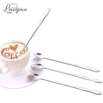 LMETJMA 3pcs/set Long Handled Spoon Stainless Steel Honey Spoon For Tea Coffee Kitchen Dessert Spoon Set KC0328-7