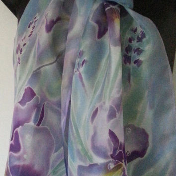 IRIS Monet Water Colours, Long Silk Scarf, New Zealand, Pastels SILK SCARF, Hand painted, mauve, purple, blue, Handmade Gift, 28cm x 200cm
