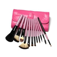 12 pcs Goat Hair Make Up Brush Set In Two style Leather Bag, Big Sale,Drop Shipping