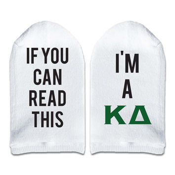 If You Can Read This... I'm a Kappa Delta Sorority Women's No Show Socks Printed with Text on Sole