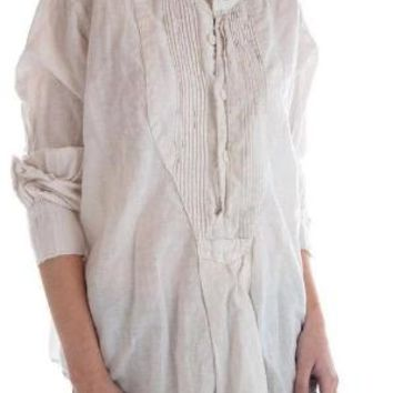 Magnolia Pearl Top 552 Linen Adrey Cropped Night Shirt with Button Placket and Pintuck Bib~ True