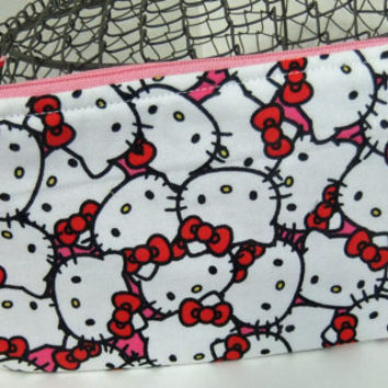 Zip Pouch-Pencil pouch- Cosmetics pouch- made by me using Hello Kitty liscenced fabric
