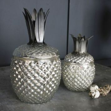 Mercury Glass Pineapple Storage Jars